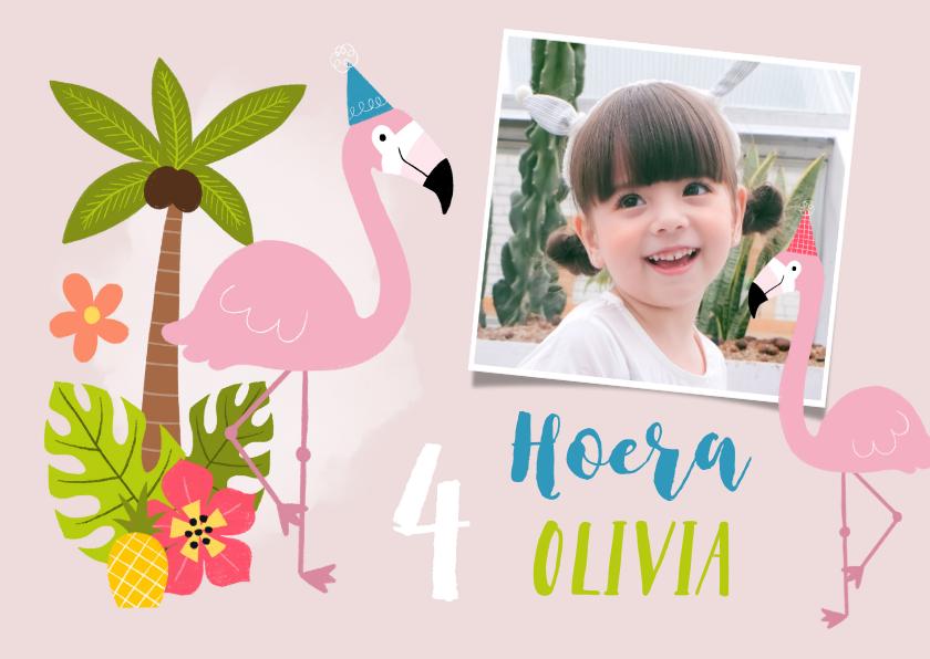 Verjaardagskaarten - Verjaardagskaart met flamingo's en tropisch thema