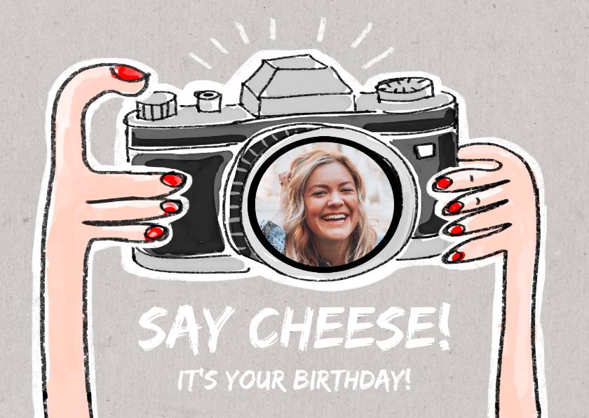 Verjaardagskaarten - Verjaardagskaart met foto in de lens van een fototoestel