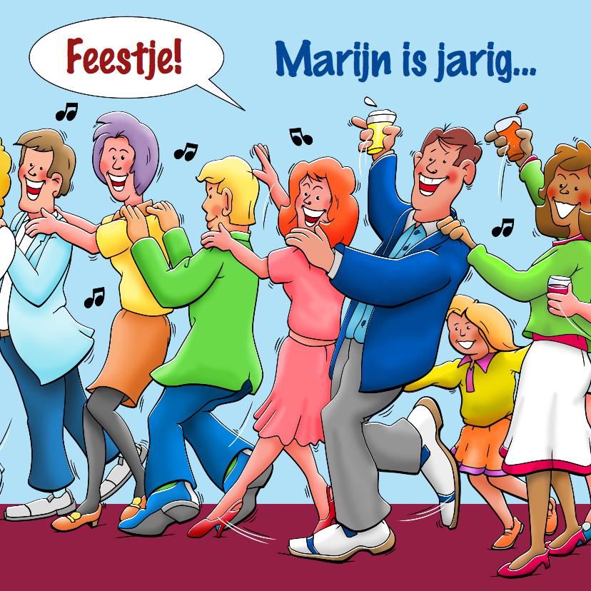 Verjaardagskaarten - Verjaardagskaart met gasten die in polonaise lopen