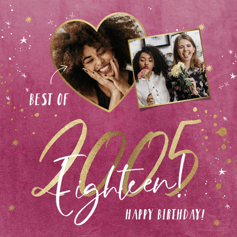 Verjaardagskaarten - Verjaardagskaart met gouden jaartal op velvet pink