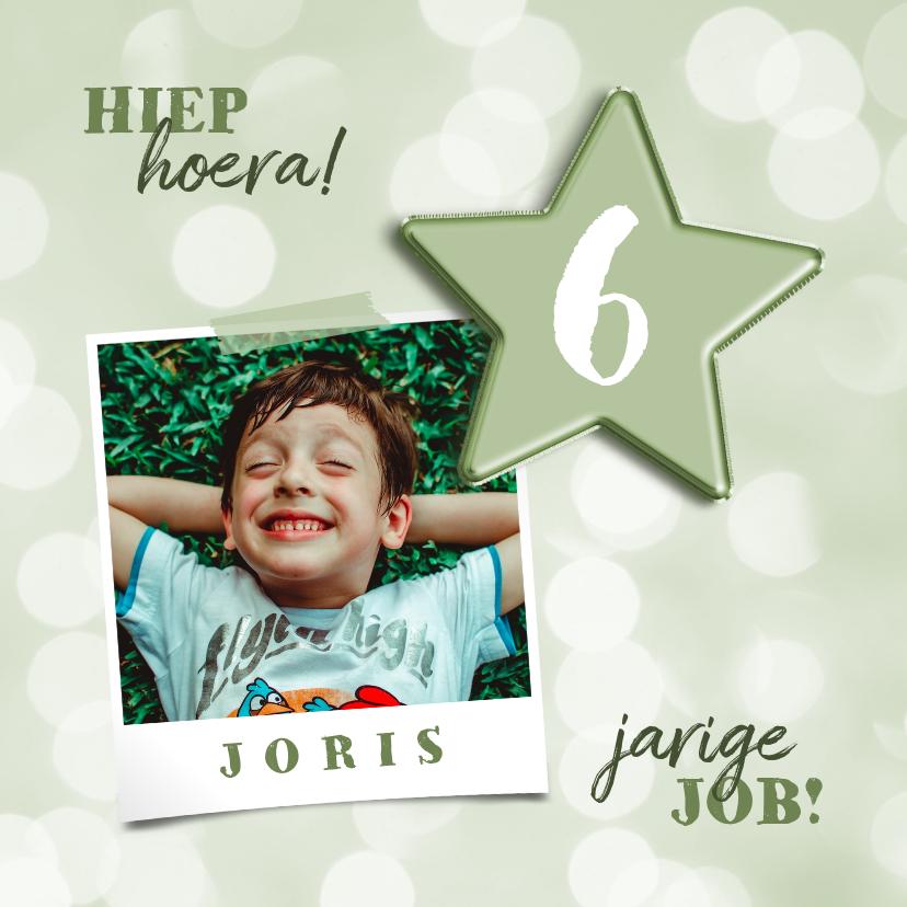 Verjaardagskaarten - Verjaardagskaart met groene folieballon ster en foto