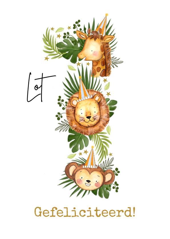 Verjaardagskaarten - Verjaardagskaart met grote '1' van jungledieren en bladeren