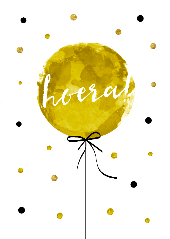 Verjaardagskaarten - Verjaardagskaart met hippe ballon en tekst Hoera!