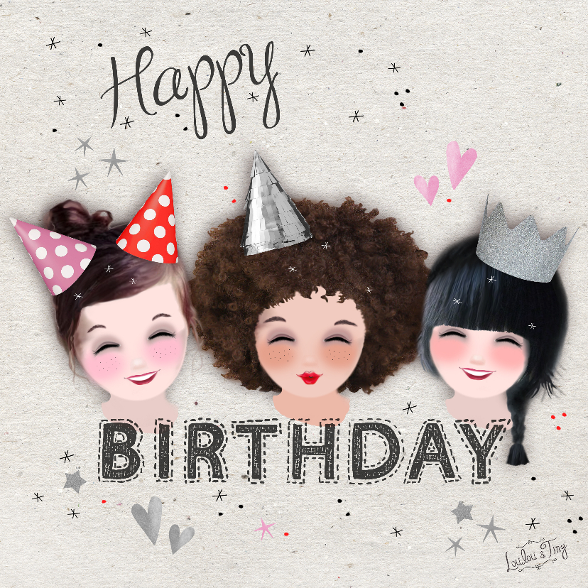 Verjaardagskaarten - Verjaardagskaart met hoedjes