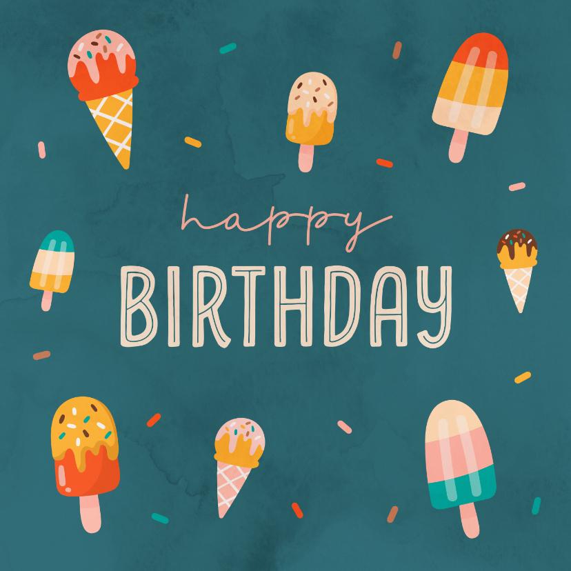 Verjaardagskaarten - Verjaardagskaart met ijsjes