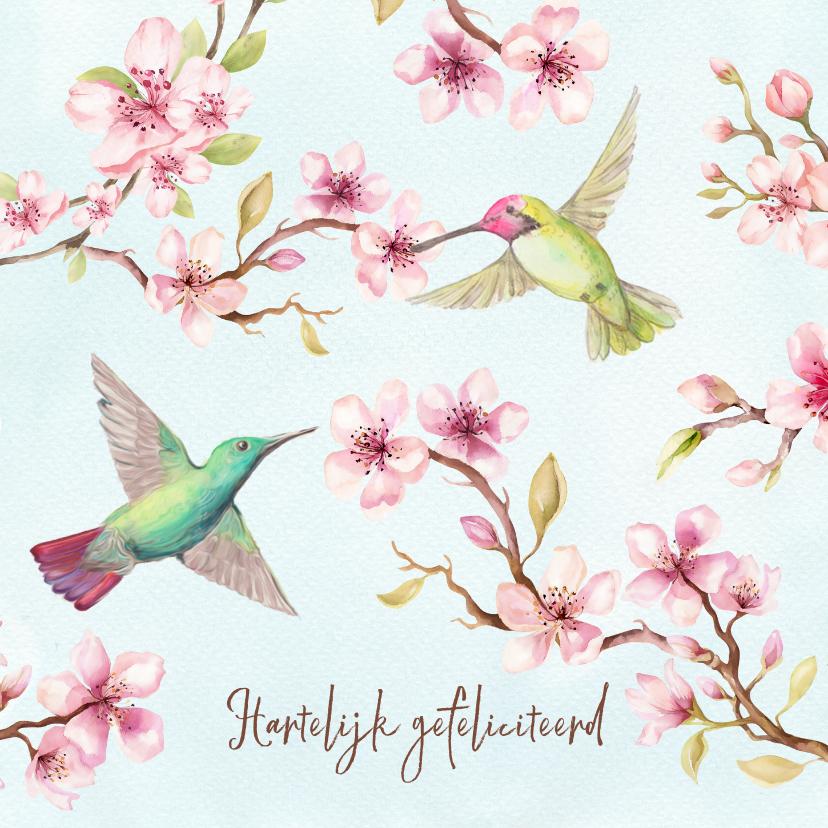 Verjaardagskaarten - Verjaardagskaart met kersenbloesem en kolibri's