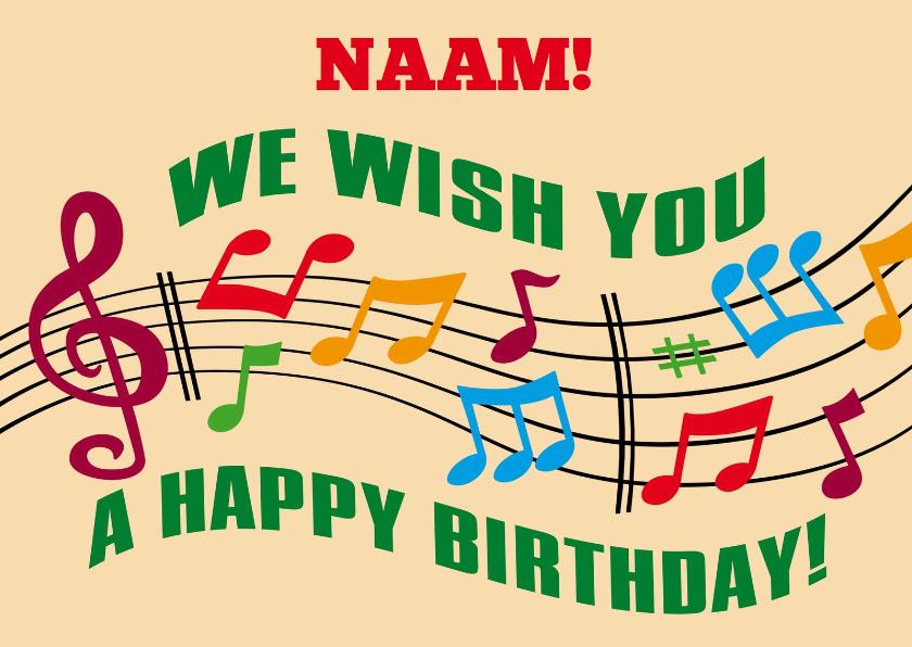 Verjaardagskaarten - Verjaardagskaart met kleurige notenbalk