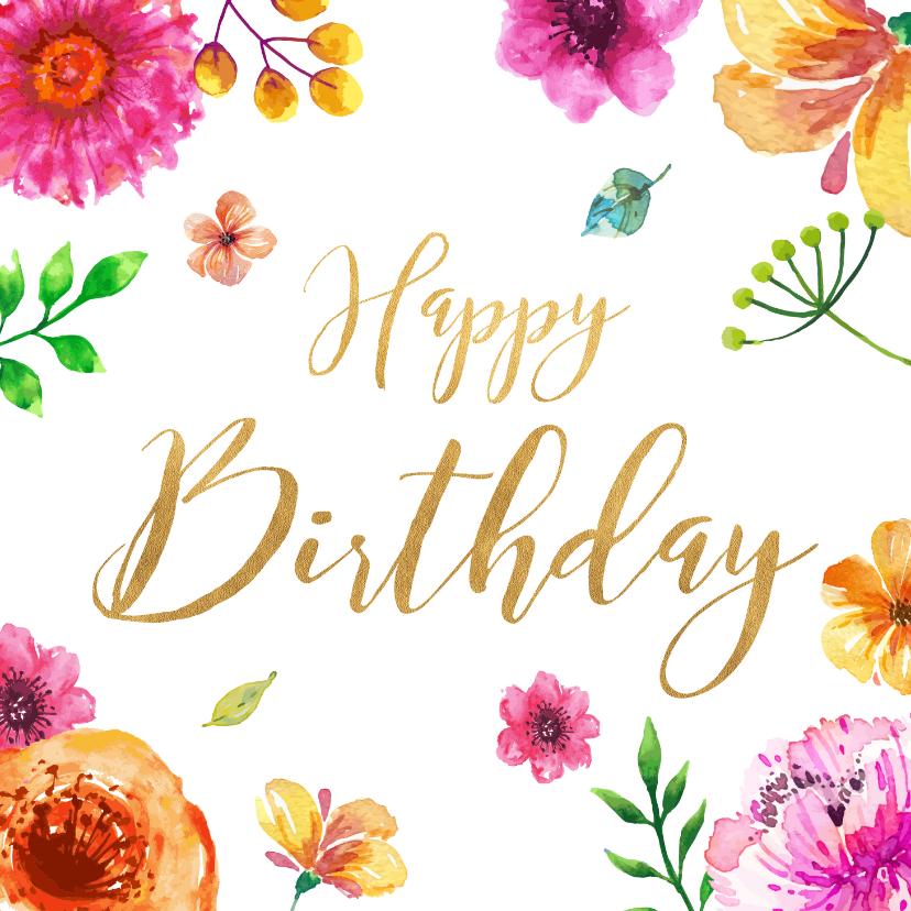 Verjaardagskaarten - Verjaardagskaart met kleurrijke bloemen