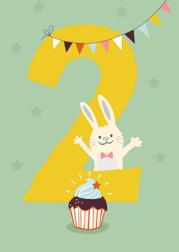 Verjaardagskaarten - Verjaardagskaart met konijn - 2 jaar