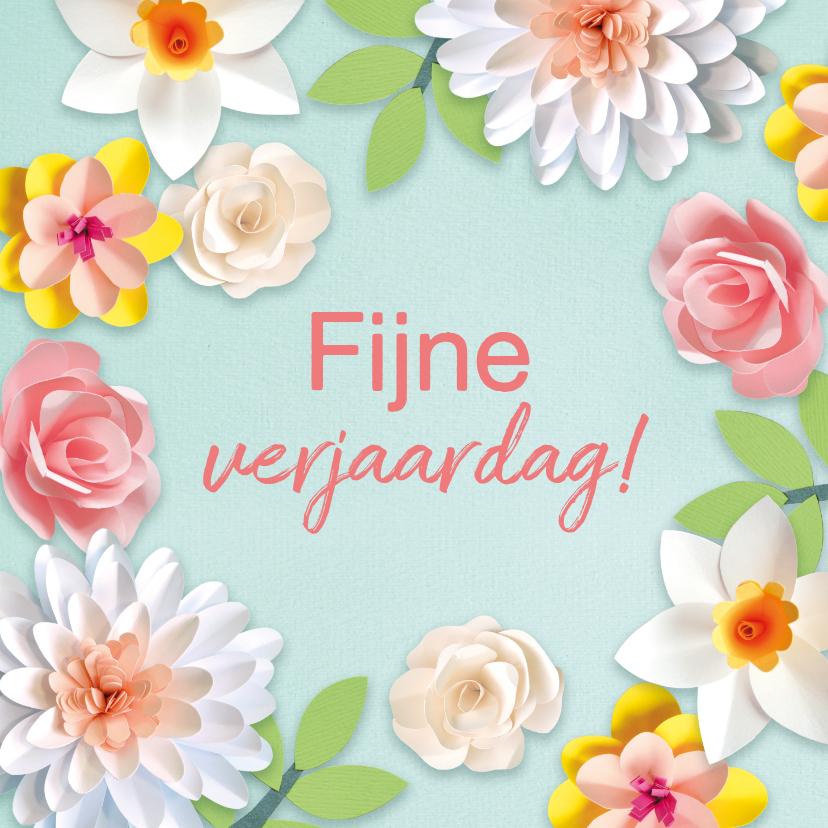 Verjaardagskaarten - Verjaardagskaart met lentebloemen
