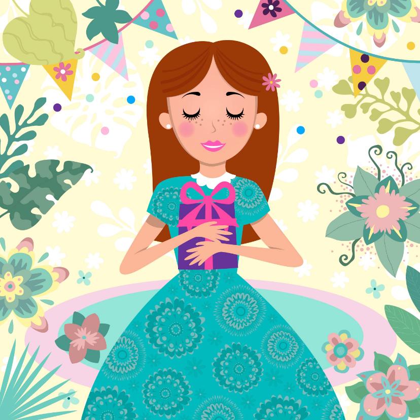 Verjaardagskaarten - Verjaardagskaart met leuke prinses met cadeau en bloemen