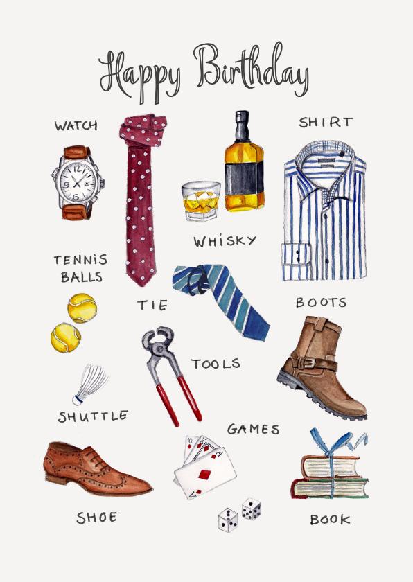 Verjaardagskaarten - Verjaardagskaart met mannen items