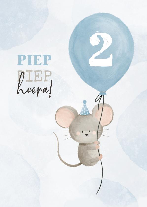 Verjaardagskaarten - Verjaardagskaart met muisje aan ballon 2 jaar