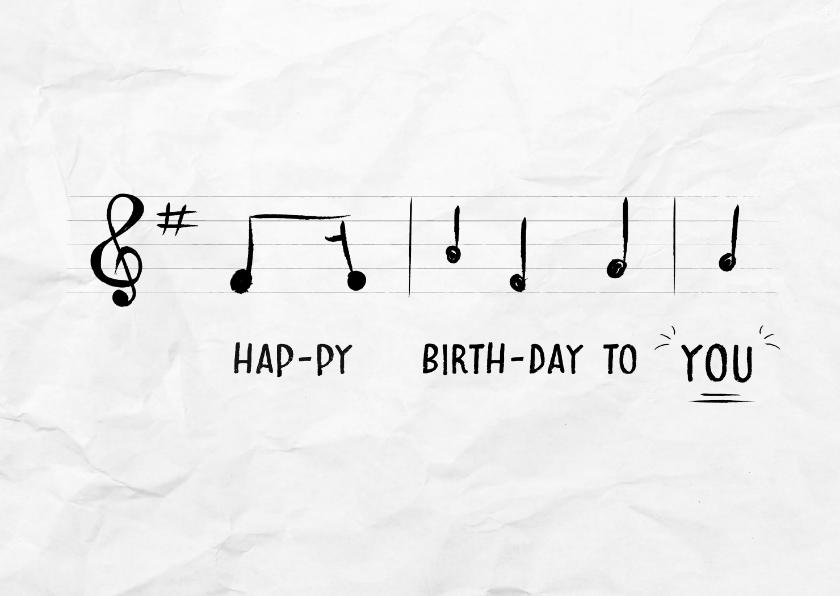 Verjaardagskaarten - Verjaardagskaart met muzieknoten van happy birthday to you