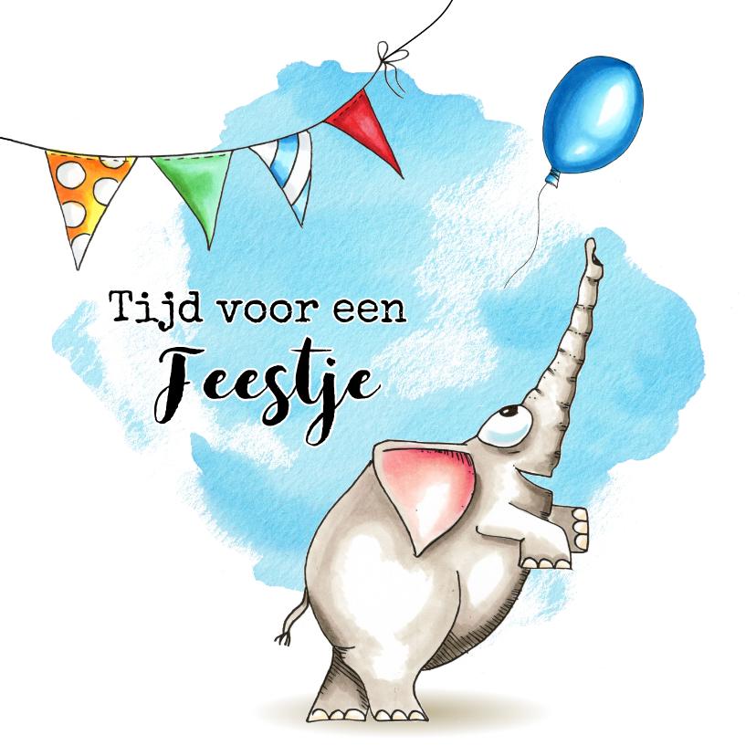 Verjaardagskaarten - Verjaardagskaart met olifant en slingers