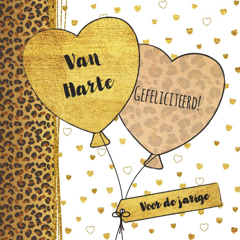 Verjaardagskaarten - Verjaardagskaart met panterprint  en hartjes ballonnen