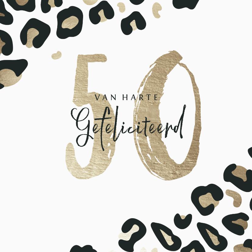 Verjaardagskaarten - Verjaardagskaart met panterprint goudlook