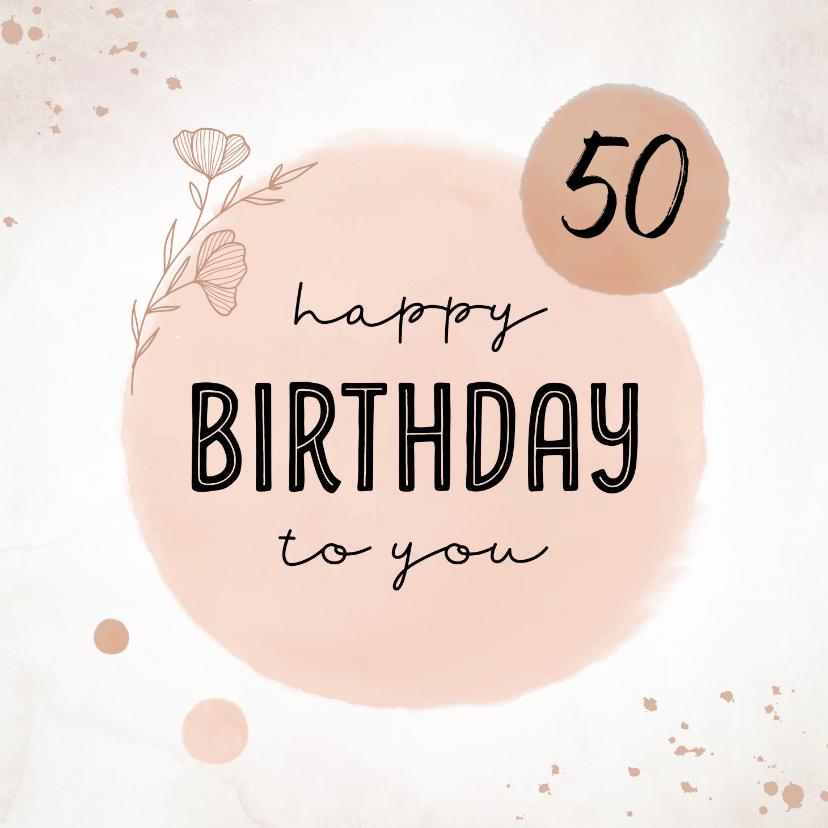 Verjaardagskaarten - Verjaardagskaart met pastel roze kleuren