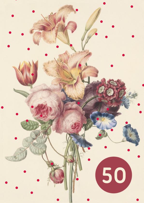 Verjaardagskaarten - Verjaardagskaart met pastelkleurige bloemen en stippen