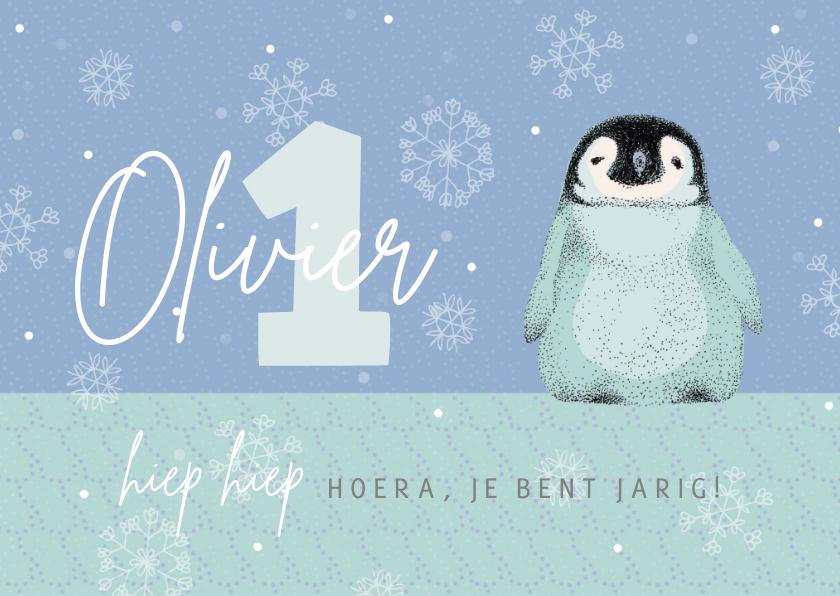 Verjaardagskaarten - Verjaardagskaart met pinguïn in het blauw
