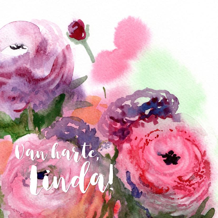 Verjaardagskaarten - Verjaardagskaart met ranonkels schilderij