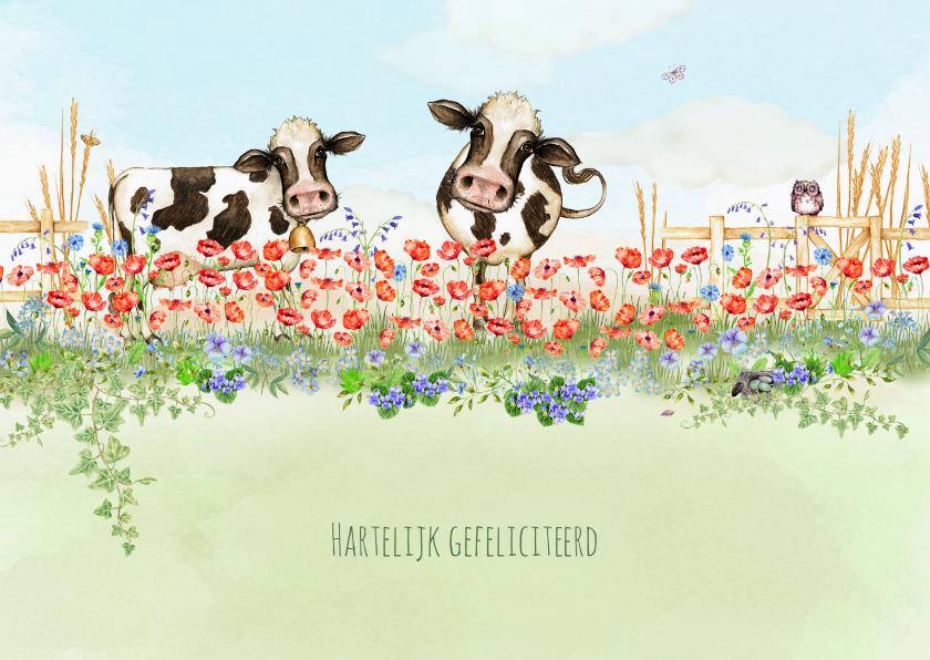 Verjaardagskaarten - Verjaardagskaart met rode klaprozen en koeien