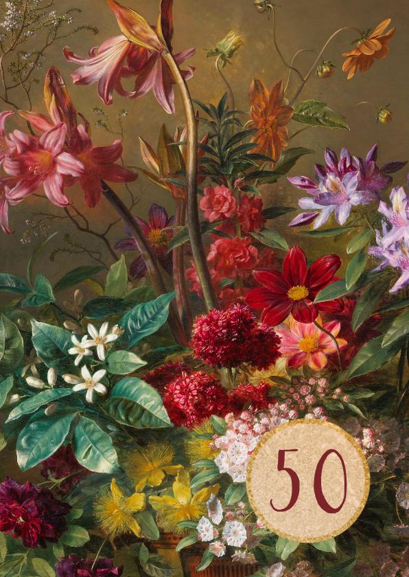 Verjaardagskaarten - Verjaardagskaart met schilderij van bloemenbos