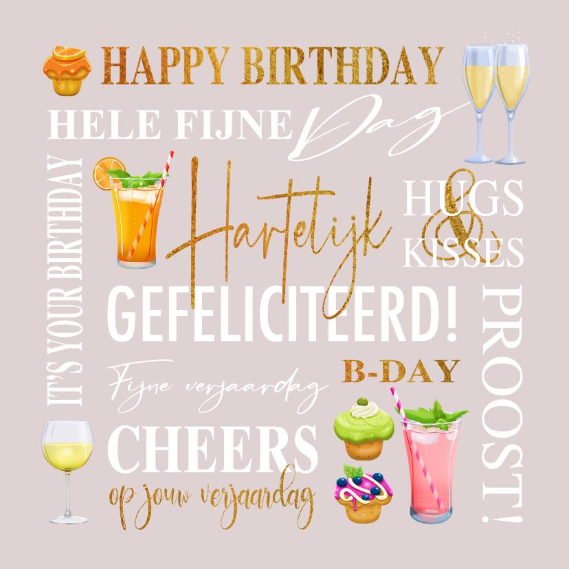 Verjaardagskaarten - Verjaardagskaart met teksten, drankjes en gebakjes goud