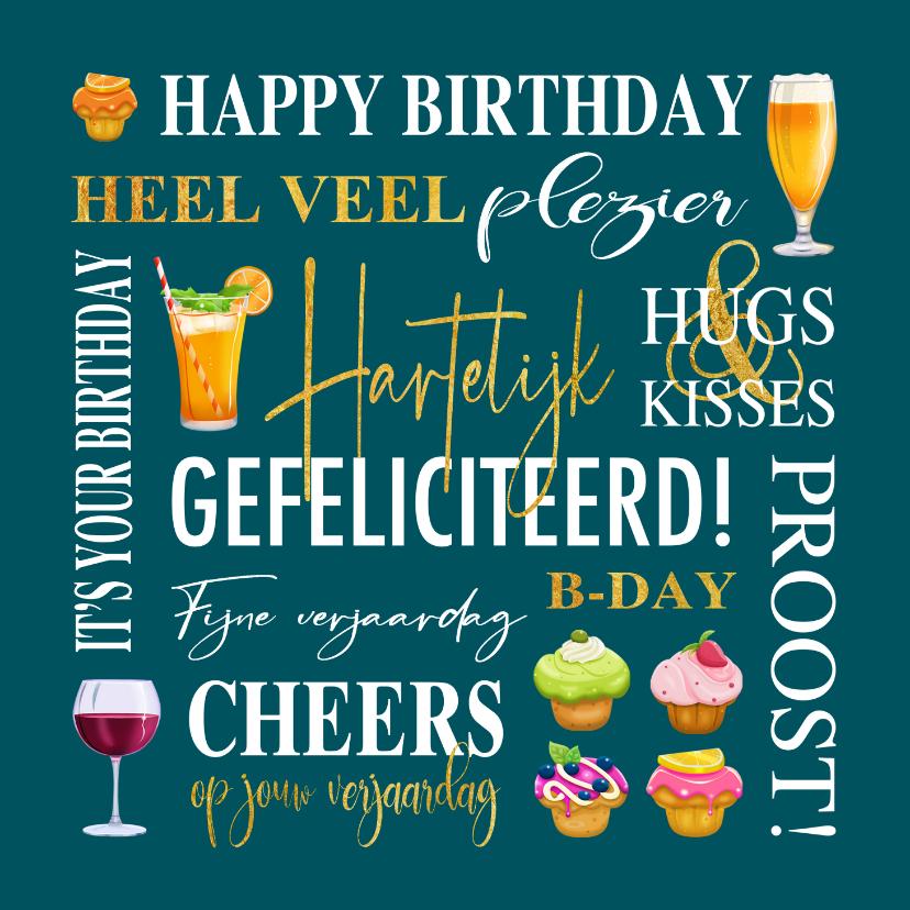 Verjaardagskaarten - Verjaardagskaart met teksten, gebak en drankjes