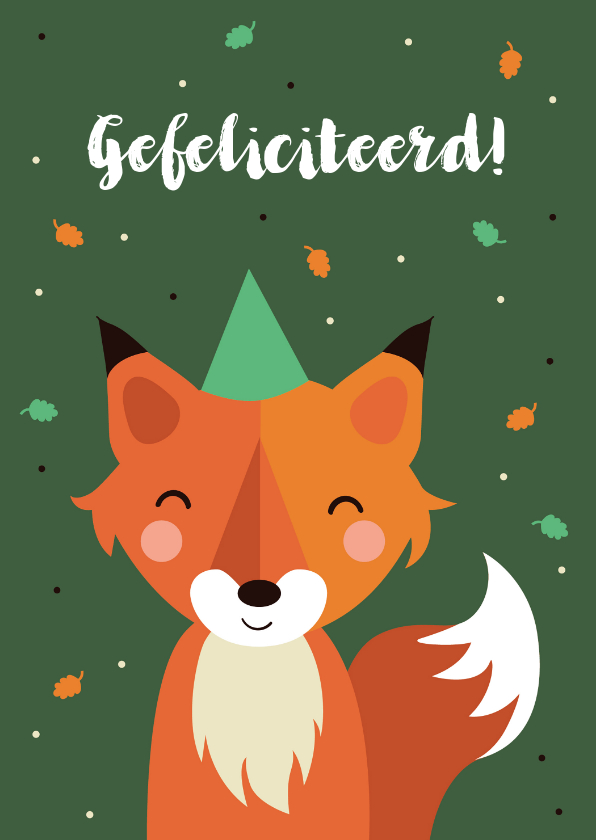 Verjaardagskaarten - Verjaardagskaart met vosje voor kind