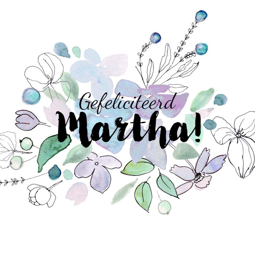 Verjaardagskaarten - Verjaardagskaart met vrolijke bloemen in blauw