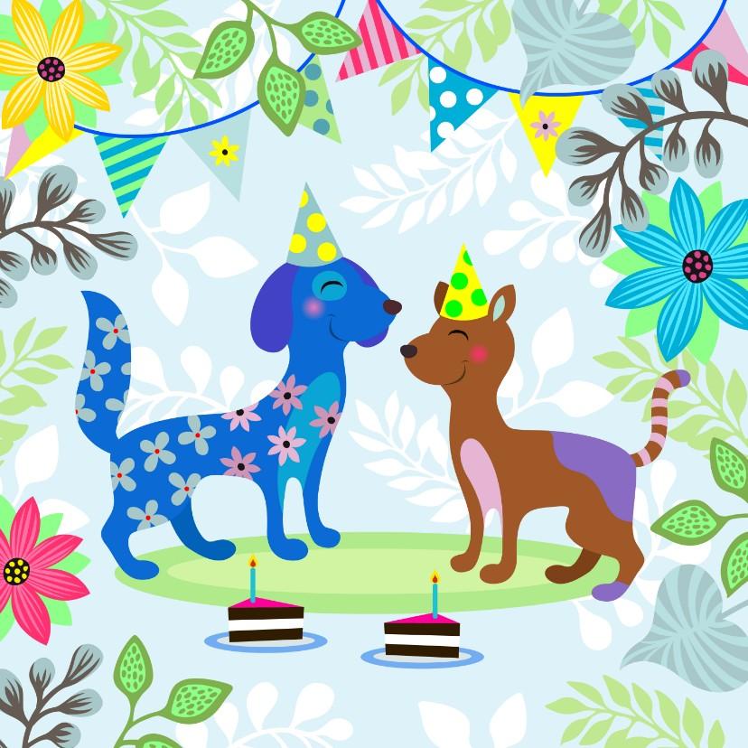 Verjaardagskaarten - Verjaardagskaart met vrolijke honden en gezelligheid