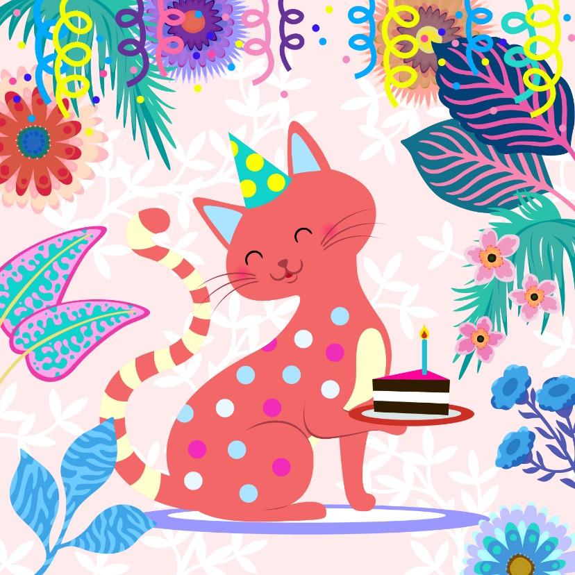 Verjaardagskaarten - Verjaardagskaart met vrolijke kat, bloemen en slingers