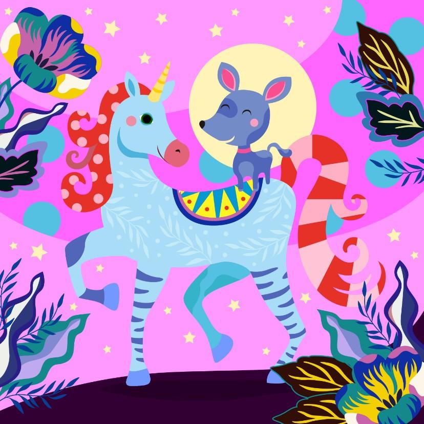 Verjaardagskaarten - Verjaardagskaart met vrolijke unicorn en hondje