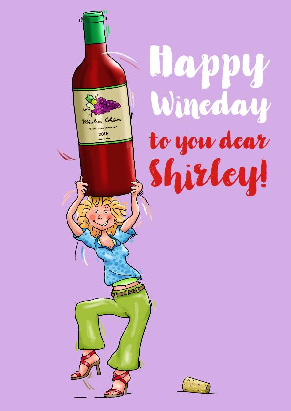 Verjaardagskaarten - Verjaardagskaart met vrouw en fles wijn