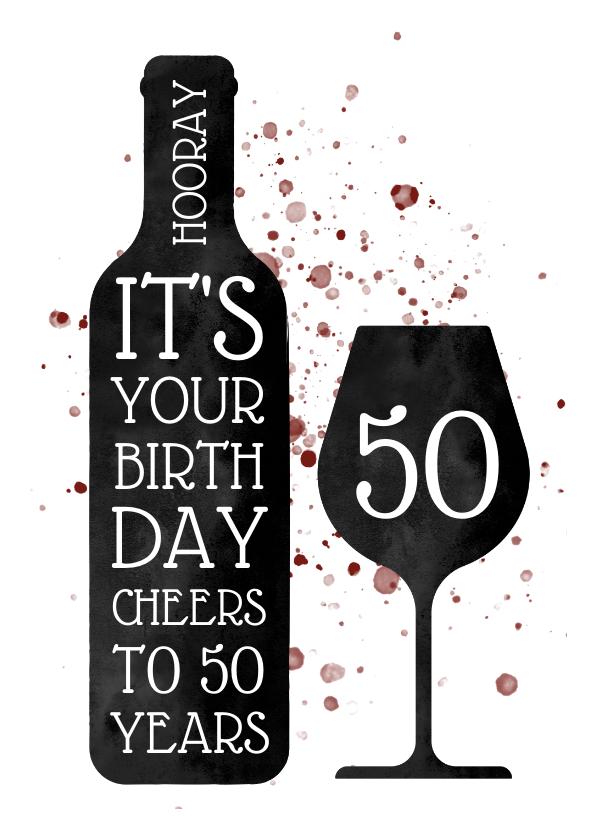 Verjaardagskaarten - Verjaardagskaart met wijn en spetters