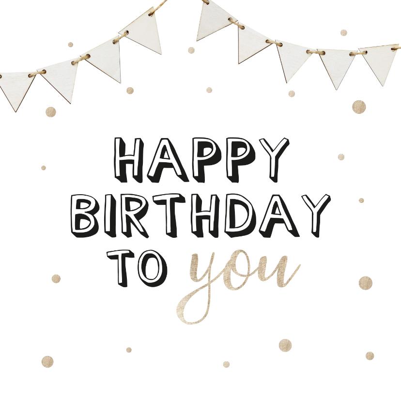 Verjaardagskaarten - Verjaardagskaart met witte vlaggetjes en beige confetti