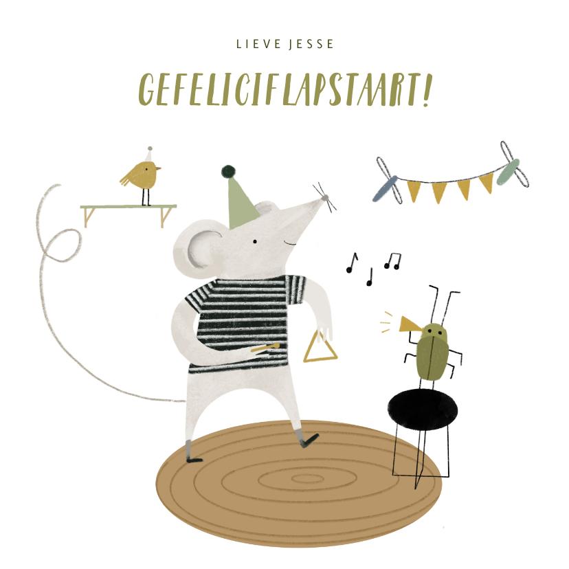 Verjaardagskaarten - Verjaardagskaart muisje en diertjes met muziek illustratie