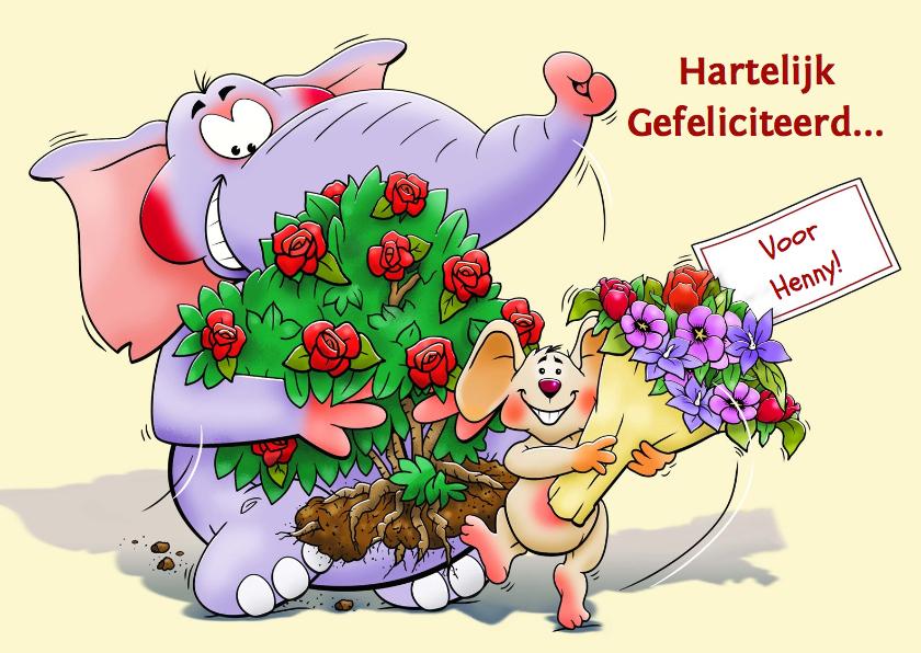 Verjaardagskaarten - Verjaardagskaart olifant en muis met bloemen