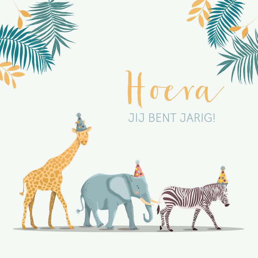 Verjaardagskaarten - Verjaardagskaart olifant giraf zebra feestmuts