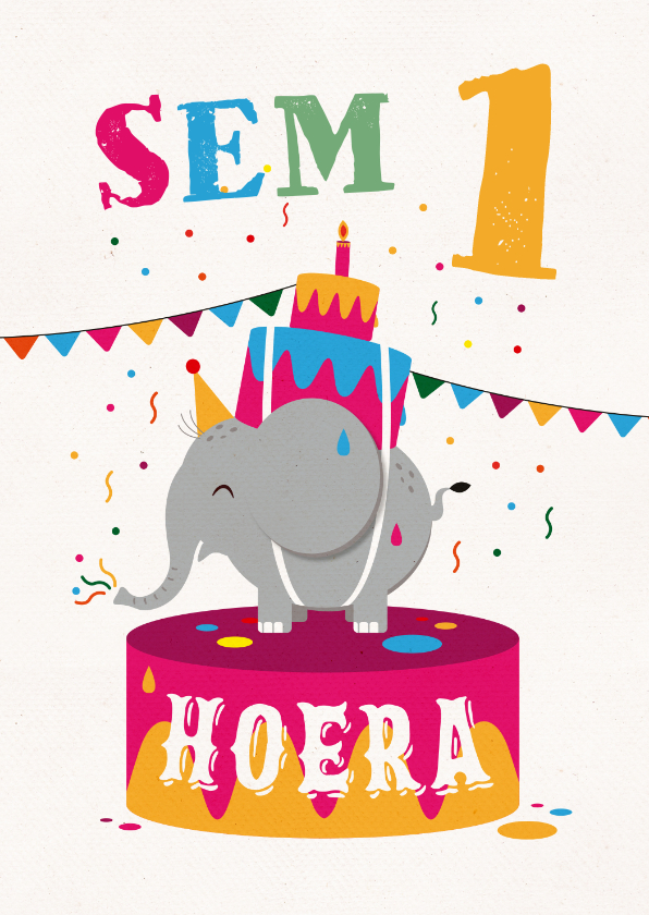 Verjaardagskaarten - Verjaardagskaart olifant hoera feest jongen meisje