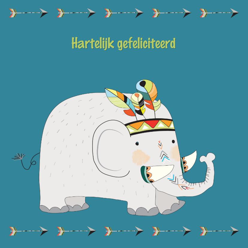 Verjaardagskaarten - Verjaardagskaart olifant met indianentooi