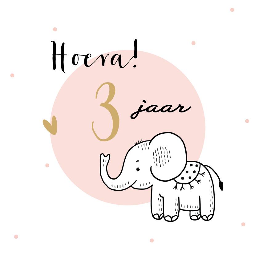 Verjaardagskaarten - Verjaardagskaart olifantje met roze cirkel en confetti
