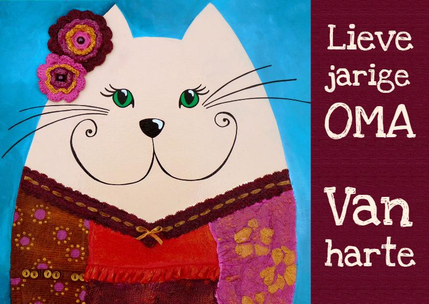 Verjaardagskaarten - Verjaardagskaart Oma kat