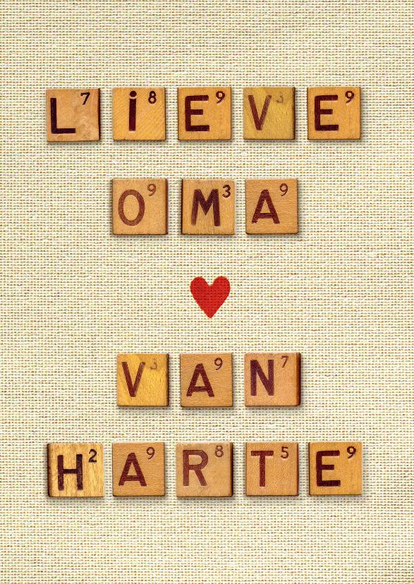 Verjaardagskaarten - Verjaardagskaart Oma van harte