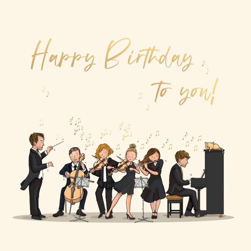 Verjaardagskaarten - Verjaardagskaart orkest met dirigent