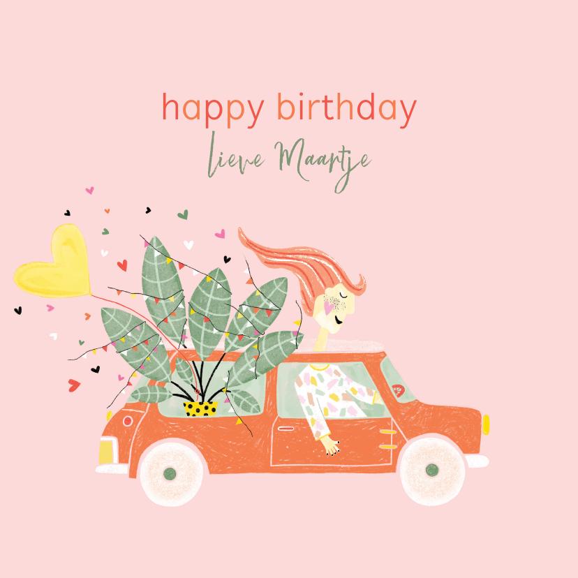 Verjaardagskaarten - Verjaardagskaart plant ballon auto