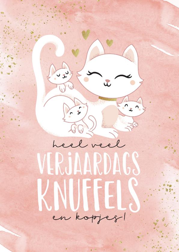Verjaardagskaarten - Verjaardagskaart poes kat met kittens schattig kind