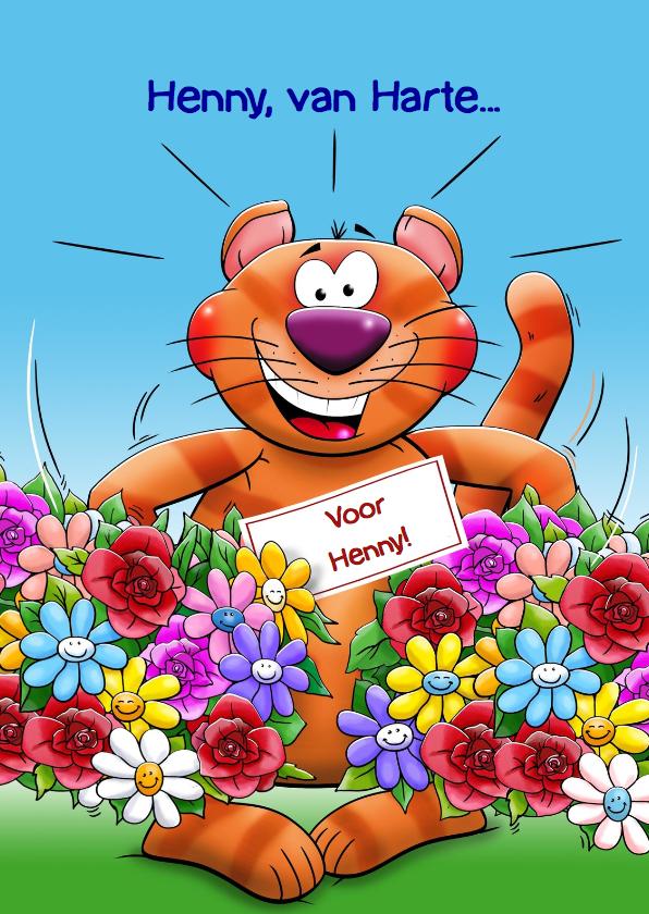 Verjaardagskaarten - Verjaardagskaart poes met 2 kleurrijke bossen bloemen