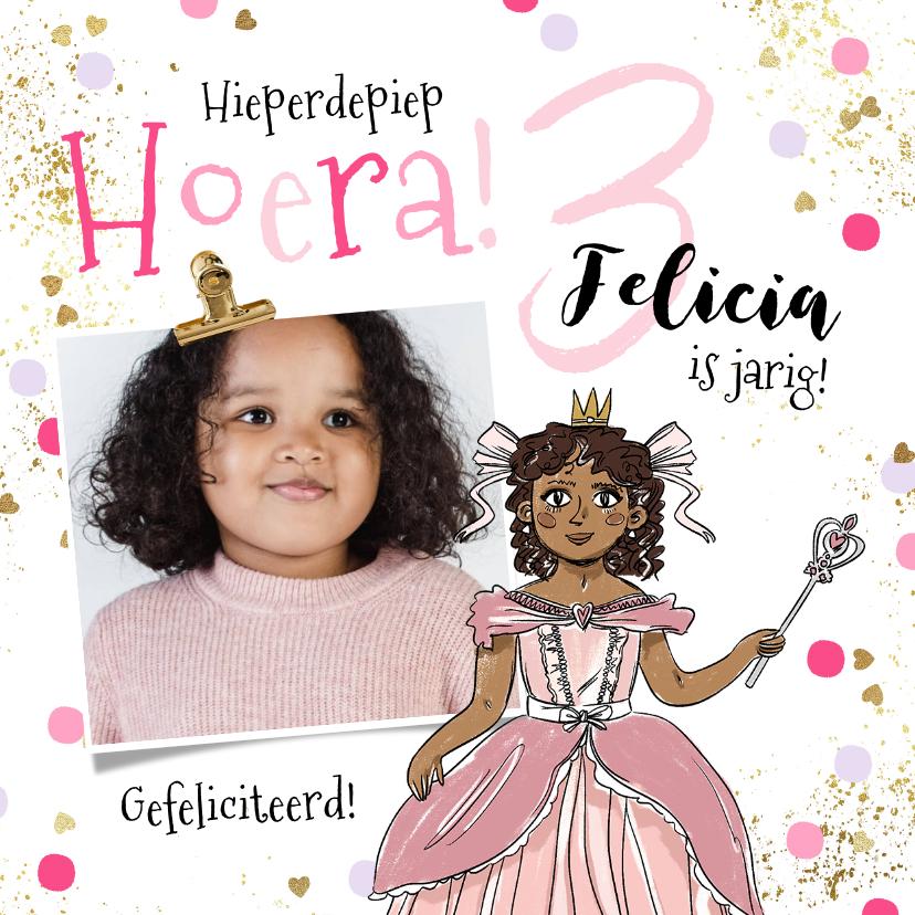 Verjaardagskaarten - Verjaardagskaart prinsesje foto confetti goudlook spetters